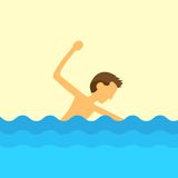 Man swimming water flat design vector Stock Photo