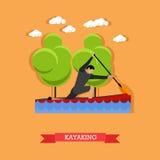 Man swims in kayak with paddle, flat design Royalty Free Stock Photos