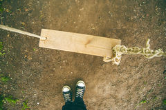 Man and the Swing. Man and the Handmade Swing, Feet from Above, Top View Stock Photography