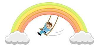 Man Swinging on Rainbow Vector Stock Photography