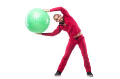 Man with swiss ball Stock Image
