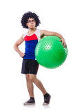 Man with swiss ball doing exercises Stock Image