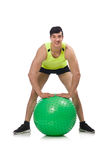 Man with swiss ball isolated on white Royalty Free Stock Image