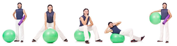 The man with swiss ball isolated on white Royalty Free Stock Image