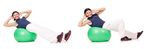 The man with swiss ball isolated on white Royalty Free Stock Images