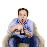 Man is switching channels Royalty Free Stock Photography