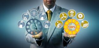 Man Switching To 100% Renewable Power Generation royalty free stock photos