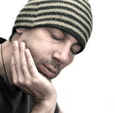 Man with swollen face suffering from toothache Royalty Free Stock Image