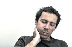 Man with swollen face suffering from toothache Royalty Free Stock Images