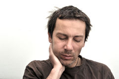 Man with swollen face suffering from toothache Royalty Free Stock Photos