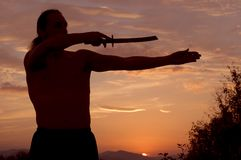 Man with sword. In sunsets Stock Image