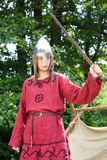 Man with sword. Man of ancient baltic tribes with sword Stock Images