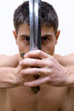 Man with sword. On white background. close-up Royalty Free Stock Photo