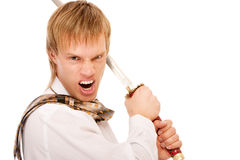 Man with sword protects business Stock Photography