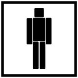 Man symbol ,men symbol. Illuminated sign -  man symbol isolated in white Royalty Free Stock Photo