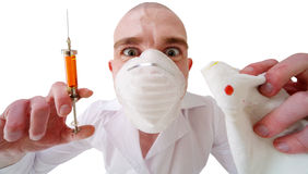 Man and syringe Royalty Free Stock Images