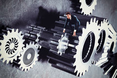 Man in a system of gear Stock Photo