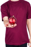 Man T-shirt Christmas ball. Isolated on white background Stock Image