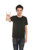Man in t-shirt with hand sign I love you Royalty Free Stock Photography