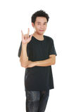 Man in t-shirt with hand sign I love you Royalty Free Stock Photos