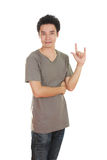 Man in t-shirt with hand sign I love you Royalty Free Stock Photo