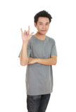 Man in t-shirt with hand sign I love you Stock Image