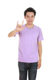 Man in t-shirt with hand sign I love you Royalty Free Stock Images