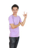 Man in t-shirt with hand sign I love you Stock Photography