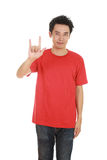 Man in t-shirt with hand sign I love you Stock Images