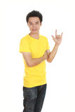 Man in t-shirt with hand sign I love you Stock Photo
