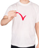 Man T-shirt marker. Isolated on white background stock photos
