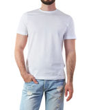 Man in t-shirt mock-up. Man in white t-shirt mock-up isolated on white Stock Photo