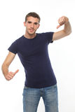 Man in t-shirt pointing fingers on himself.isolate Royalty Free Stock Image