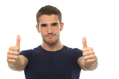 Man in t-shirt showing thumbs up. Isolate Stock Image