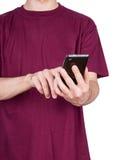 Man T-shirt smartphone Stock Photos