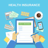 Man at the table fills in the form of health insurance. Healthcare concept. Vector illustration Royalty Free Stock Photo