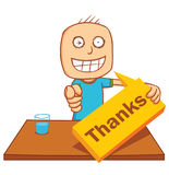 Man & table - thank you Stock Photography