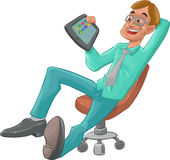 Man and tablet. A man sit down with a tablet in his hand Royalty Free Stock Images