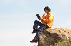 Man with tablet Royalty Free Stock Photo