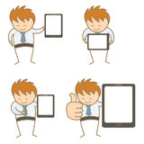 Man with tablet. Cartoon character set of man with tablet Stock Photo
