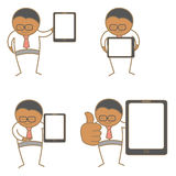 Man with tablet. Cartoon character set of man with tablet Royalty Free Stock Photos