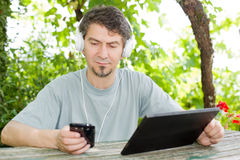 Man with tablet Royalty Free Stock Image