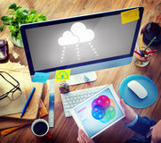 Man with Tablet and Cloud Concepts Royalty Free Stock Photography