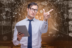 The man with tablet in data mining concept Royalty Free Stock Image