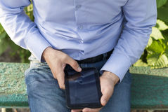 Man with tablet in hand. Royalty Free Stock Photos