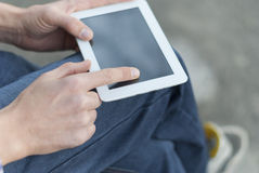 Man with tablet in hand Stock Images