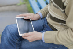 Man with tablet in hand Stock Image