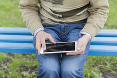 Man with tablet in hand Stock Photography