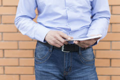 Man with tablet in hand Royalty Free Stock Image