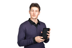 Man with a tablet in his hand Stock Photos